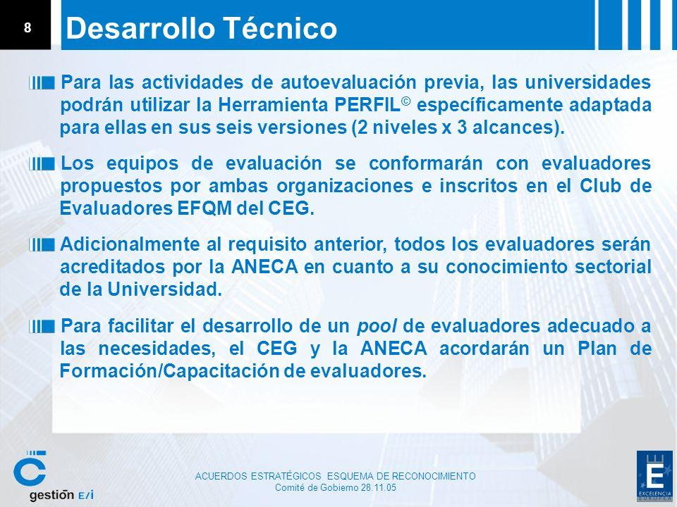 ACUERDOS ESTRATÉGICOS ESQUEMA DE RECONOCIMIENTO Comité de Gobierno 28.11.05 8 Desarrollo Técnico Para las actividades de autoevaluación previa, las un