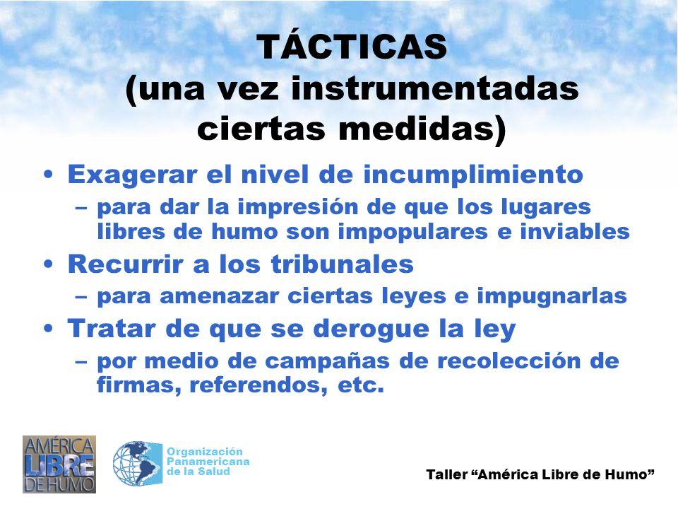 Taller América Libre de Humo Organización Panamericana de la Salud TÁCTICAS (una vez instrumentadas ciertas medidas) Exagerar el nivel de incumplimien