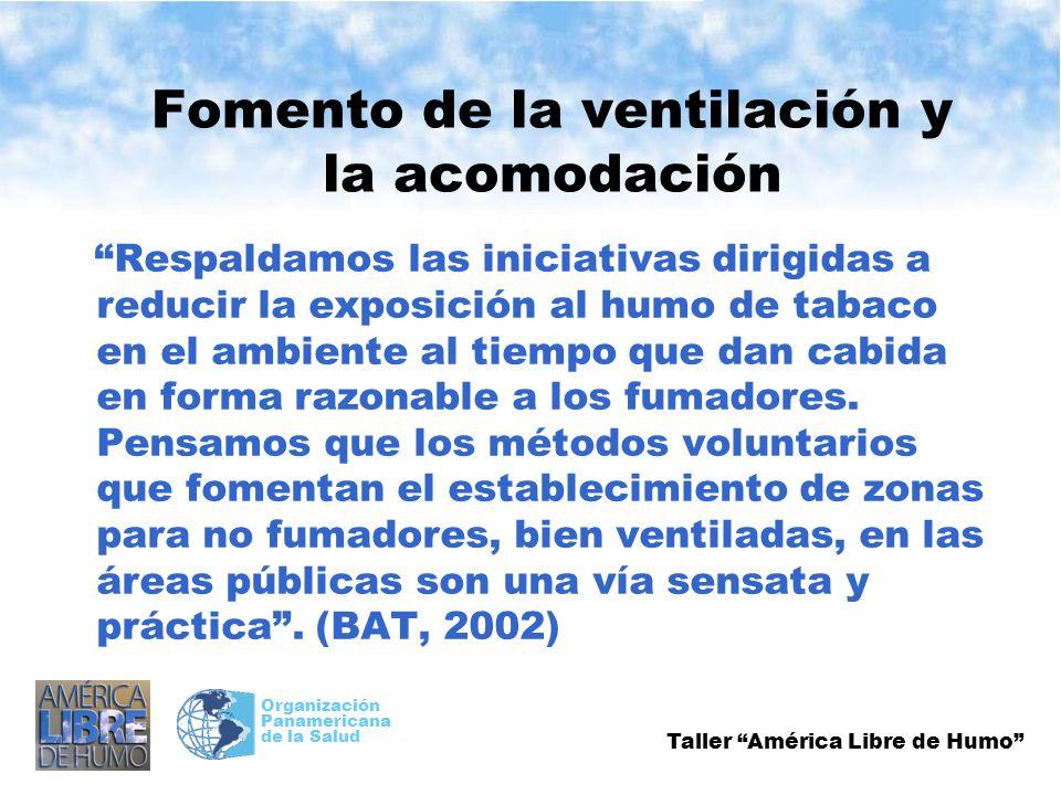 Taller América Libre de Humo Organización Panamericana de la Salud Fomento de la ventilación y la acomodación Respaldamos las iniciativas dirigidas a