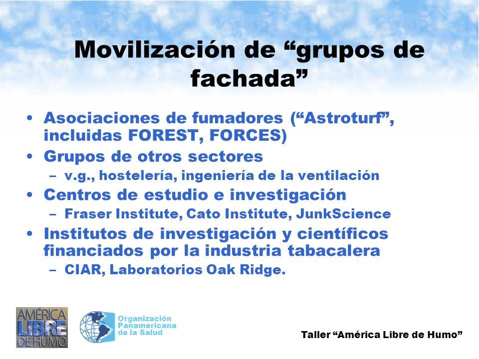 Taller América Libre de Humo Organización Panamericana de la Salud Movilización de grupos de fachada Asociaciones de fumadores (Astroturf, incluidas F