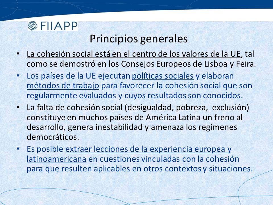 Cooperación UE-AL Declaraciones políticas Declaración de Guadalajara (mayo de 2004): doce párrafos sobre el tema de la cohesión social, en línea con los objetivos del Milenio y los acuerdos de Monterrey.