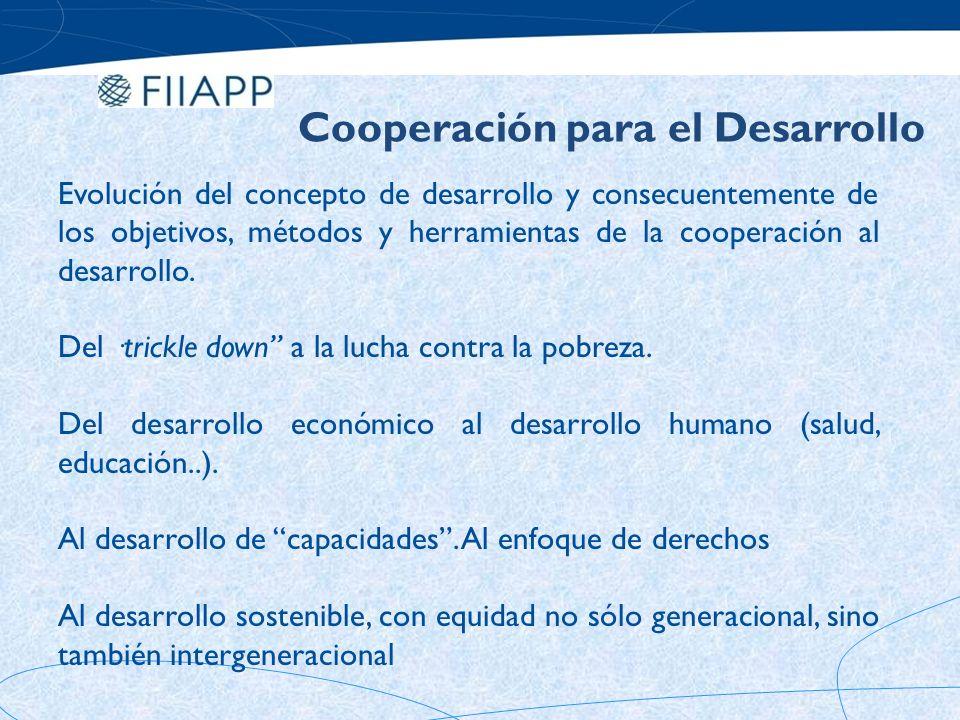 RECONCEPTUALIZACIÓN DE LA AGENDA DE DESARROLLO Fuente: Development Cooperation and Performance Evaluation: The Monterrey Challenge, OED, Banco Mundial, 2002