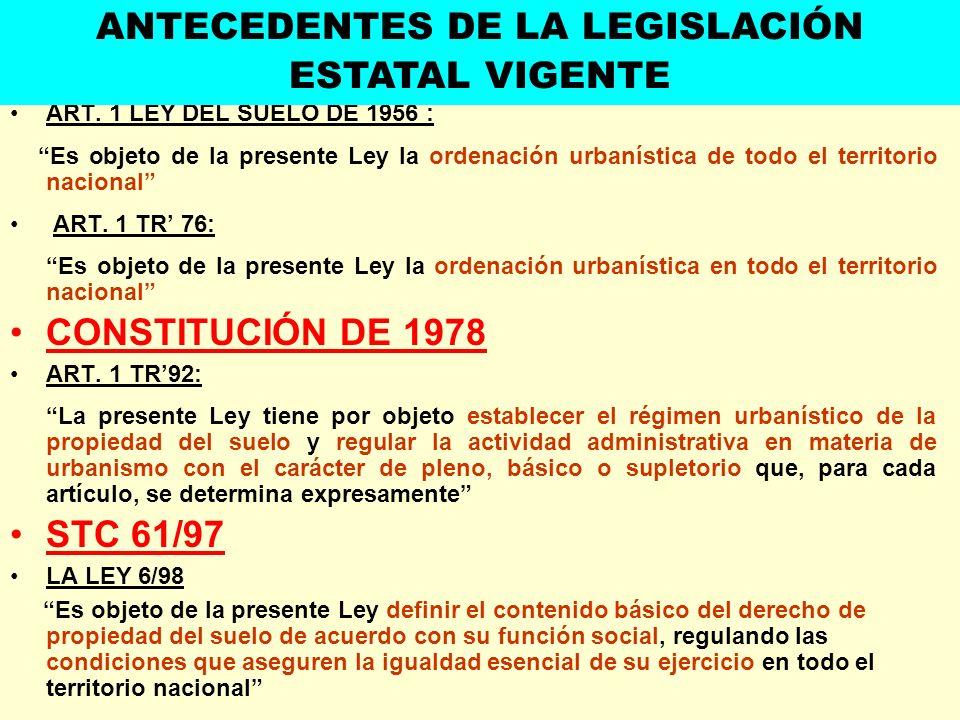 ART. 1 LEY DEL SUELO DE 1956 : Es objeto de la presente Ley la ordenación urbanística de todo el territorio nacional ART. 1 TR 76: Es objeto de la pre