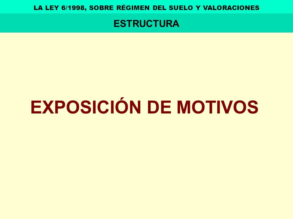 EXPOSICIÓN DE MOTIVOS LA LEY 6/1998, SOBRE RÉGIMEN DEL SUELO Y VALORACIONES ESTRUCTURA