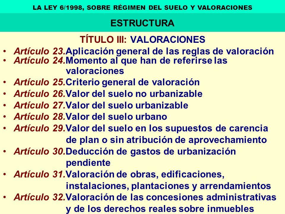TÍTULO III: VALORACIONES Artículo 23.Aplicación general de las reglas de valoración Artículo 24.Momento al que han de referirse las valoraciones Artíc