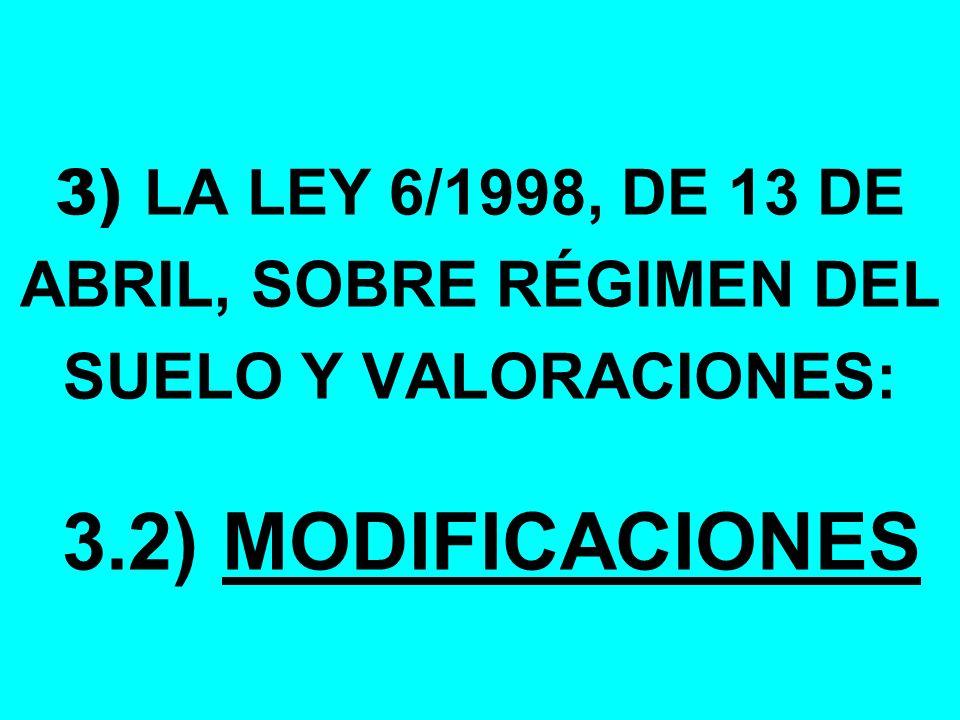 3) LA LEY 6/1998, DE 13 DE ABRIL, SOBRE RÉGIMEN DEL SUELO Y VALORACIONES: 3.2) MODIFICACIONES