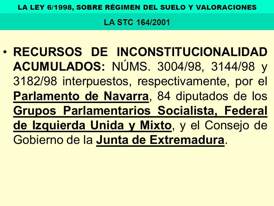 RECURSOS DE INCONSTITUCIONALIDAD ACUMULADOS: NÚMS. 3004/98, 3144/98 y 3182/98 interpuestos, respectivamente, por el Parlamento de Navarra, 84 diputado