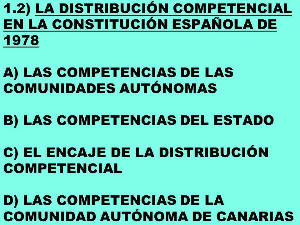 1.2) LA DISTRIBUCIÓN COMPETENCIAL EN LA CONSTITUCIÓN ESPAÑOLA DE 1978 A) LAS COMPETENCIAS DE LAS COMUNIDADES AUTÓNOMAS B) LAS COMPETENCIAS DEL ESTADO