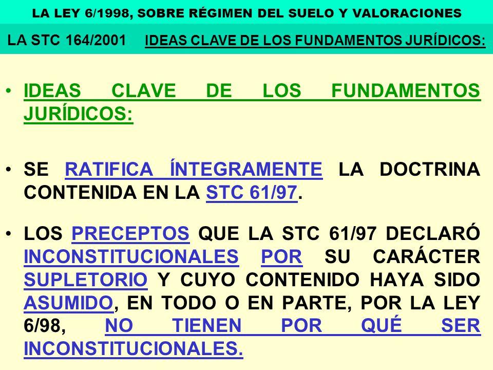 IDEAS CLAVE DE LOS FUNDAMENTOS JURÍDICOS: SE RATIFICA ÍNTEGRAMENTE LA DOCTRINA CONTENIDA EN LA STC 61/97. LOS PRECEPTOS QUE LA STC 61/97 DECLARÓ INCON