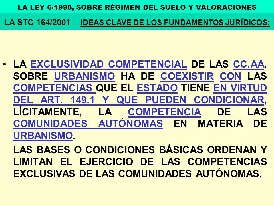 LA EXCLUSIVIDAD COMPETENCIAL DE LAS CC.AA. SOBRE URBANISMO HA DE COEXISTIR CON LAS COMPETENCIAS QUE EL ESTADO TIENE EN VIRTUD DEL ART. 149.1 Y QUE PUE