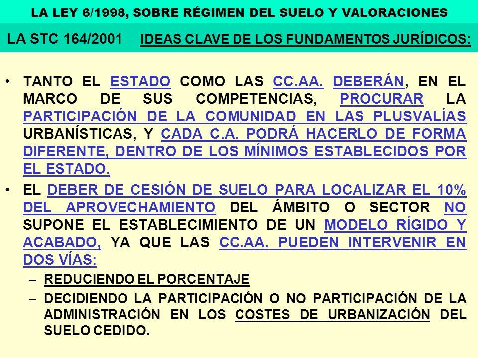 TANTO EL ESTADO COMO LAS CC.AA. DEBERÁN, EN EL MARCO DE SUS COMPETENCIAS, PROCURAR LA PARTICIPACIÓN DE LA COMUNIDAD EN LAS PLUSVALÍAS URBANÍSTICAS, Y