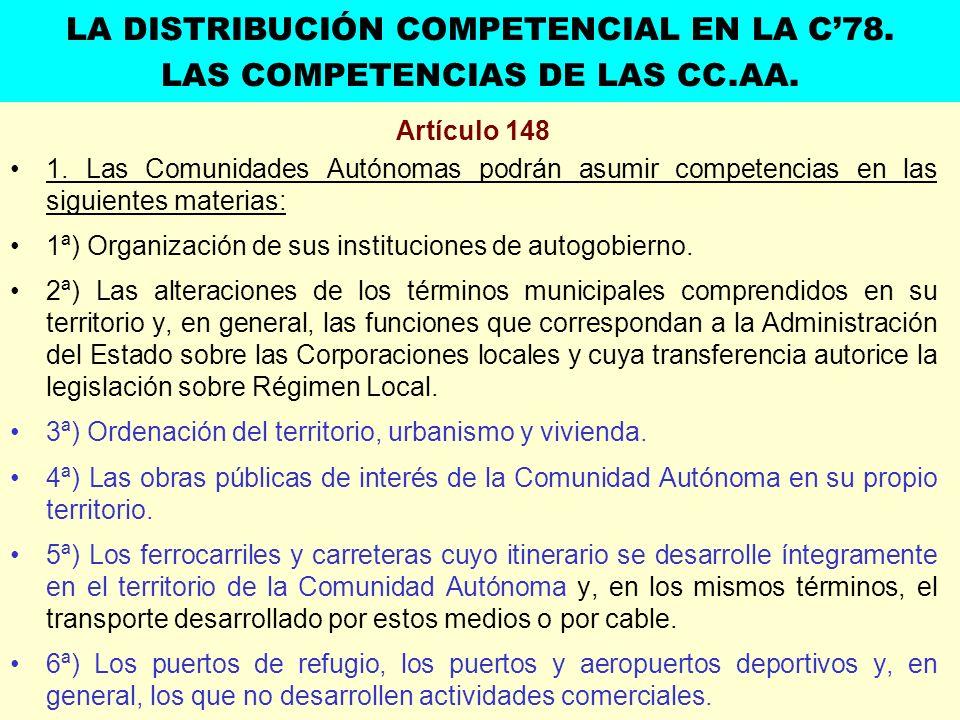 Artículo 148 1. Las Comunidades Autónomas podrán asumir competencias en las siguientes materias: 1ª) Organización de sus instituciones de autogobierno