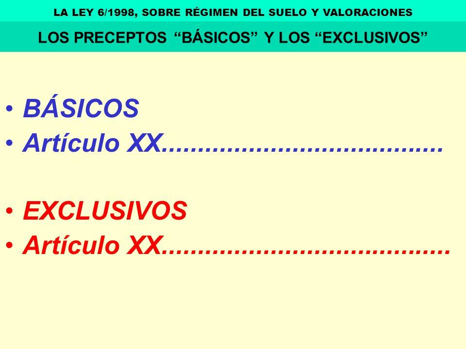 BÁSICOS Artículo XX....................................... EXCLUSIVOS Artículo XX........................................ LA LEY 6/1998, SOBRE RÉGIMEN