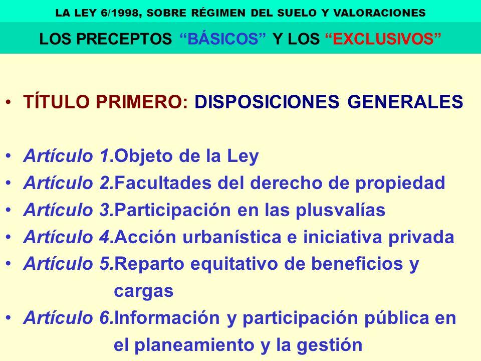TÍTULO PRIMERO: DISPOSICIONES GENERALES Artículo 1.Objeto de la Ley Artículo 2.Facultades del derecho de propiedad Artículo 3.Participación en las plu