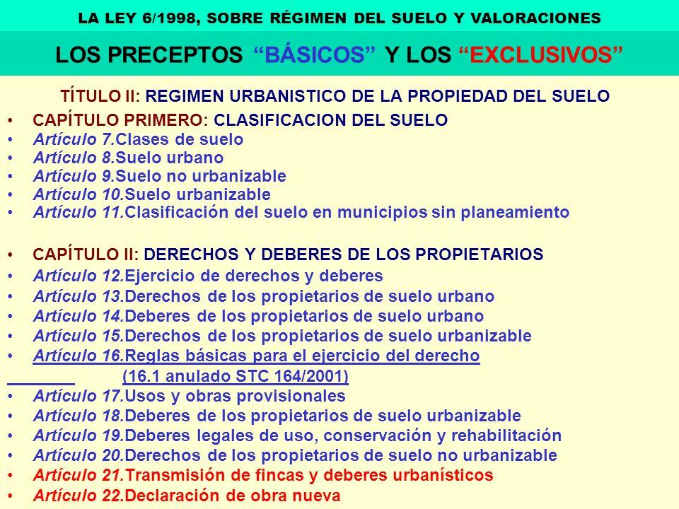 TÍTULO II: REGIMEN URBANISTICO DE LA PROPIEDAD DEL SUELO CAPÍTULO PRIMERO: CLASIFICACION DEL SUELO Artículo 7.Clases de suelo Artículo 8.Suelo urbano