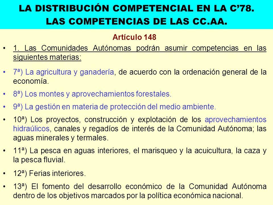 Artículo 148 1. Las Comunidades Autónomas podrán asumir competencias en las siguientes materias: 7ª) La agricultura y ganadería, de acuerdo con la ord