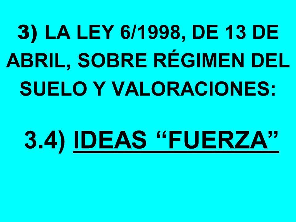 3) LA LEY 6/1998, DE 13 DE ABRIL, SOBRE RÉGIMEN DEL SUELO Y VALORACIONES: 3.4) IDEAS FUERZA