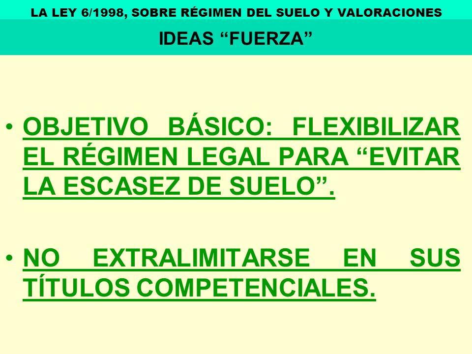 OBJETIVO BÁSICO: FLEXIBILIZAR EL RÉGIMEN LEGAL PARA EVITAR LA ESCASEZ DE SUELO. NO EXTRALIMITARSE EN SUS TÍTULOS COMPETENCIALES. LA LEY 6/1998, SOBRE