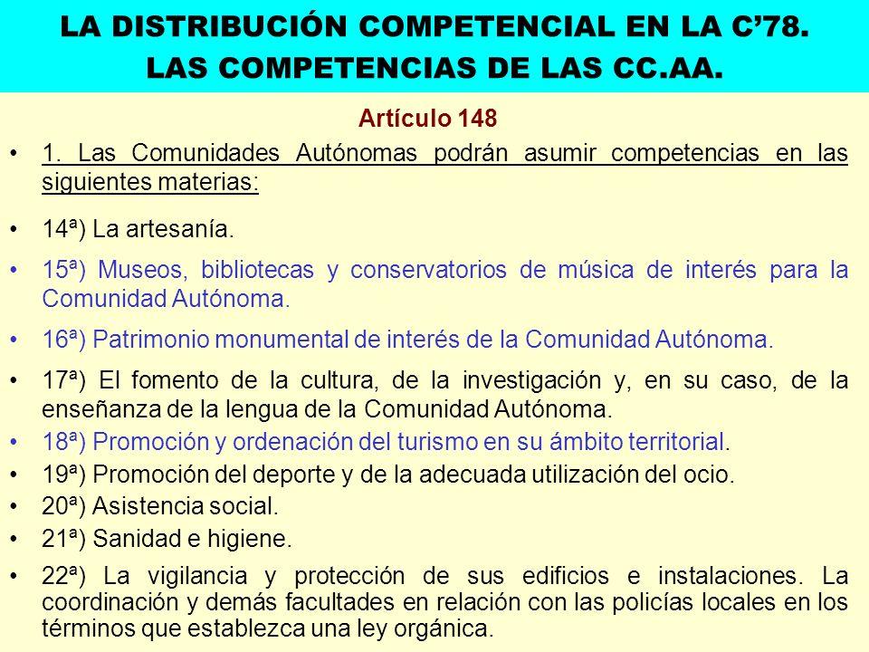 Artículo 148 1. Las Comunidades Autónomas podrán asumir competencias en las siguientes materias: 14ª) La artesanía. 15ª) Museos, bibliotecas y conserv
