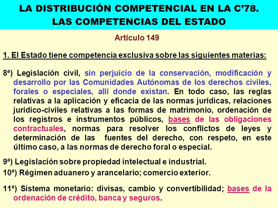 Artículo 149 1. El Estado tiene competencia exclusiva sobre las siguientes materias: 8ª) Legislación civil, sin perjuicio de la conservación, modifica