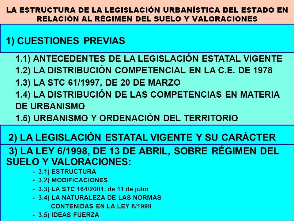 2) LA LEGISLACIÓN ESTATAL VIGENTE Y SU CARÁCTER 1) CUESTIONES PREVIAS 1.1) ANTECEDENTES DE LA LEGISLACIÓN ESTATAL VIGENTE 1.2) LA DISTRIBUCIÓN COMPETE