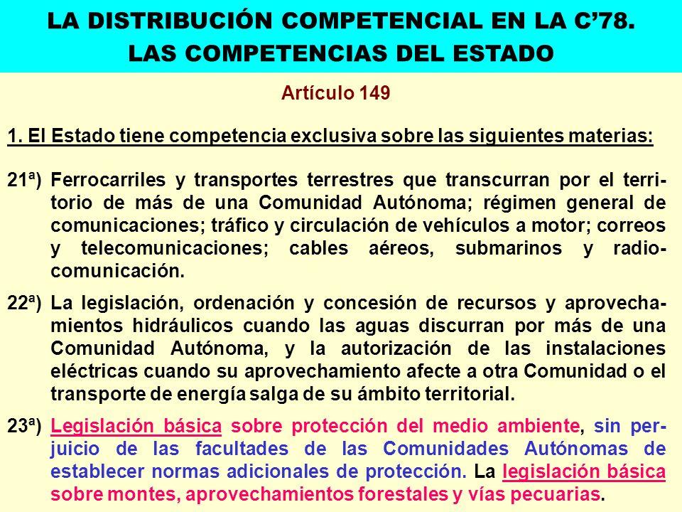 Artículo 149 1. El Estado tiene competencia exclusiva sobre las siguientes materias: 21ª) Ferrocarriles y transportes terrestres que transcurran por e