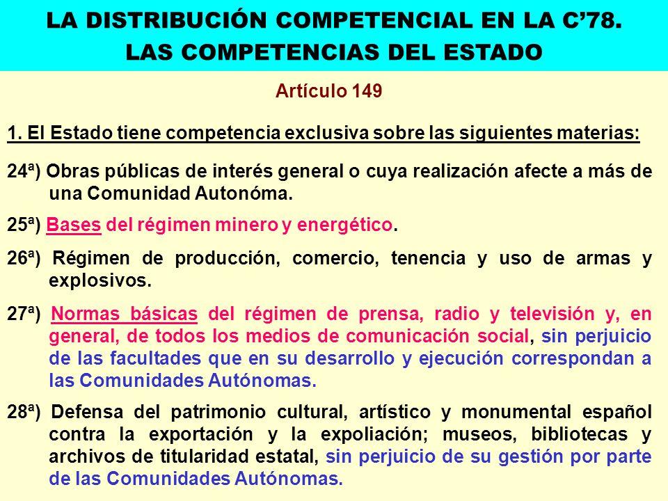 Artículo 149 1. El Estado tiene competencia exclusiva sobre las siguientes materias: 24ª) Obras públicas de interés general o cuya realización afecte