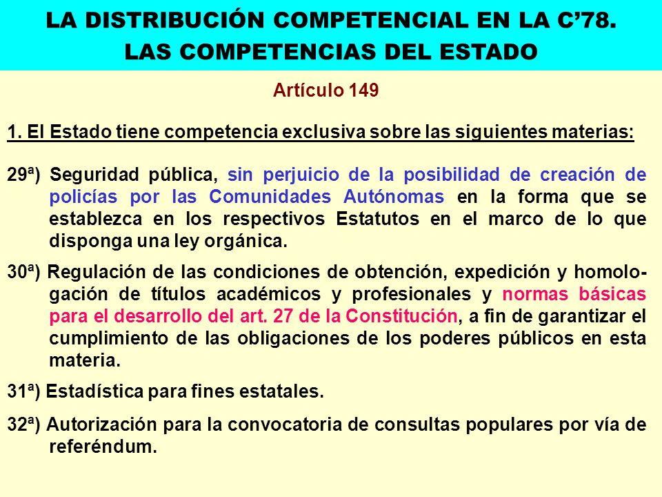 Artículo 149 1. El Estado tiene competencia exclusiva sobre las siguientes materias: 29ª) Seguridad pública, sin perjuicio de la posibilidad de creaci