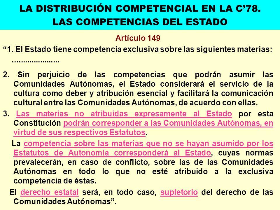 Artículo 149 1. El Estado tiene competencia exclusiva sobre las siguientes materias:...................... 2. Sin perjuicio de las competencias que po