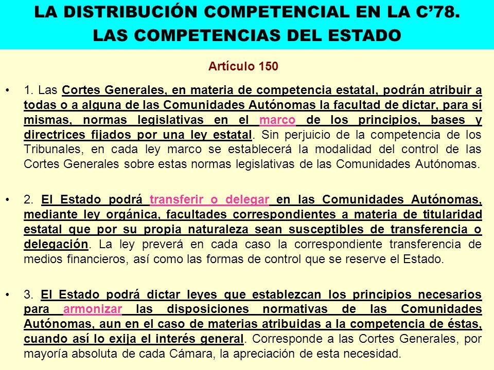 Artículo 150 1. Las Cortes Generales, en materia de competencia estatal, podrán atribuir a todas o a alguna de las Comunidades Autónomas la facultad d