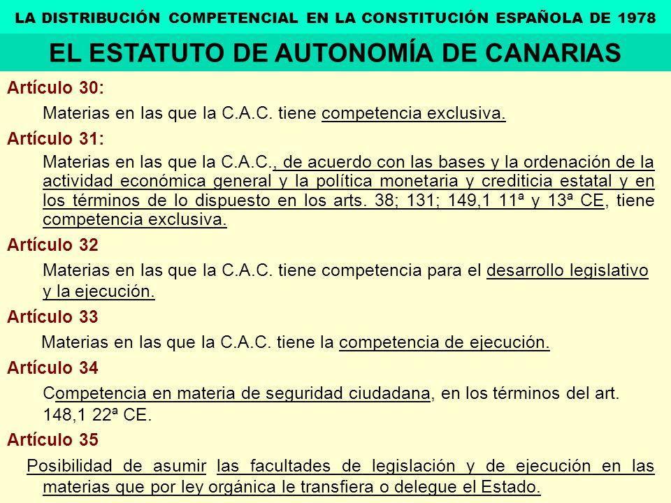 Artículo 30: Materias en las que la C.A.C. tiene competencia exclusiva. Artículo 31: Materias en las que la C.A.C., de acuerdo con las bases y la orde