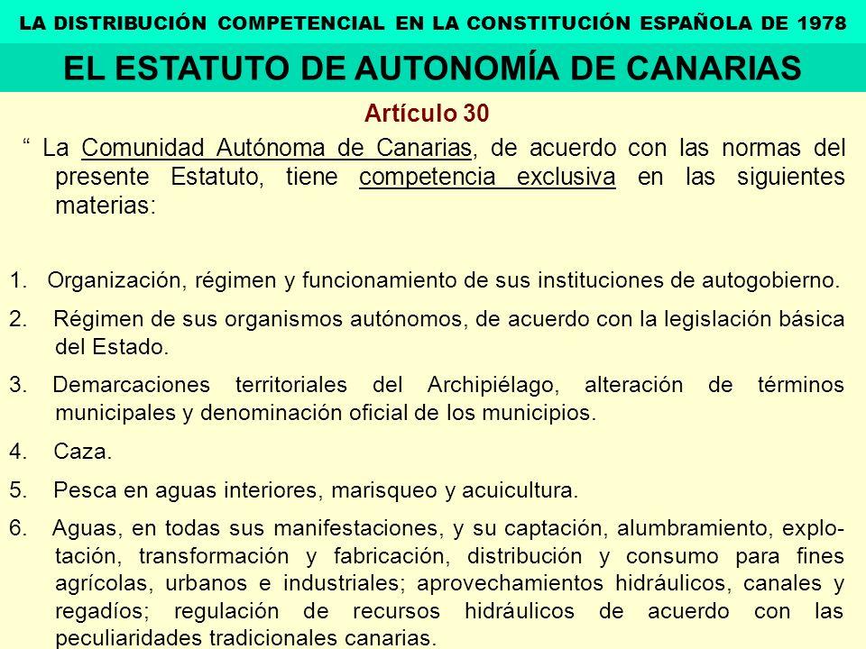 Artículo 30 La Comunidad Autónoma de Canarias, de acuerdo con las normas del presente Estatuto, tiene competencia exclusiva en las siguientes materias
