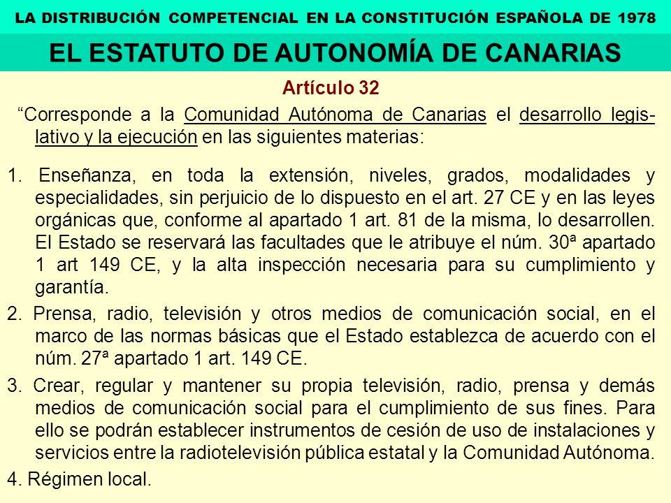 Artículo 32 Corresponde a la Comunidad Autónoma de Canarias el desarrollo legis- lativo y la ejecución en las siguientes materias: 1. Enseñanza, en to