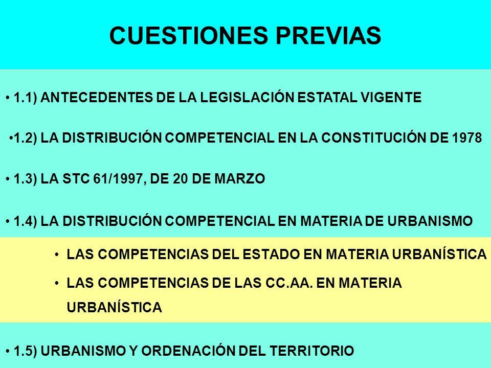 CUESTIONES PREVIAS LAS COMPETENCIAS DEL ESTADO EN MATERIA URBANÍSTICA LAS COMPETENCIAS DE LAS CC.AA. EN MATERIA URBANÍSTICA 1.4) LA DISTRIBUCIÓN COMPE