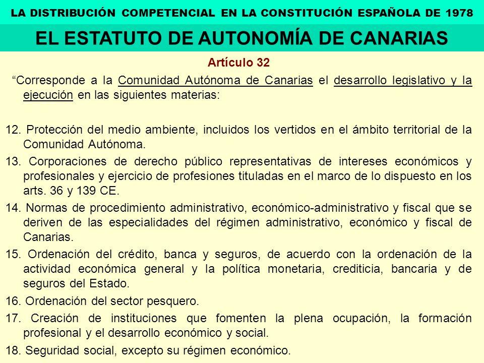 Artículo 32 Corresponde a la Comunidad Autónoma de Canarias el desarrollo legislativo y la ejecución en las siguientes materias: 12. Protección del me
