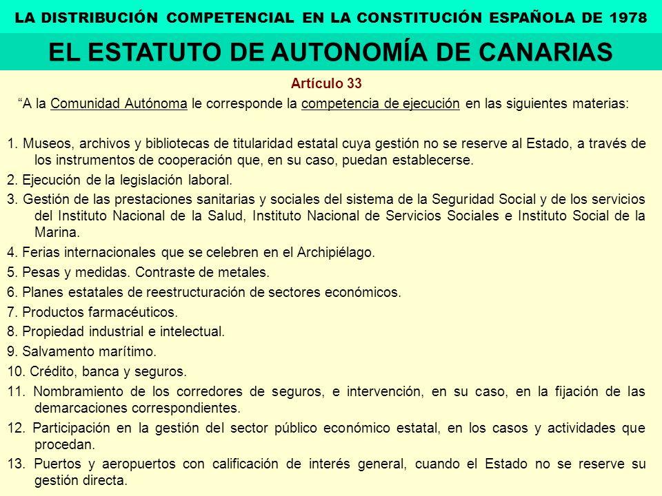 Artículo 33 A la Comunidad Autónoma le corresponde la competencia de ejecución en las siguientes materias: 1. Museos, archivos y bibliotecas de titula
