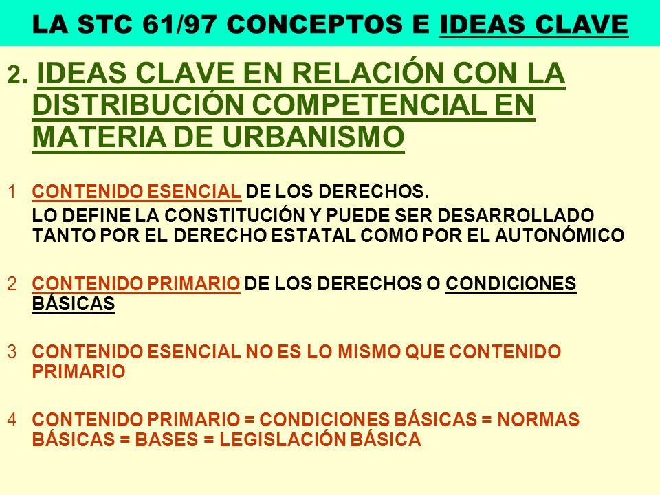 2. IDEAS CLAVE EN RELACIÓN CON LA DISTRIBUCIÓN COMPETENCIAL EN MATERIA DE URBANISMO 1CONTENIDO ESENCIAL DE LOS DERECHOS. LO DEFINE LA CONSTITUCIÓN Y P