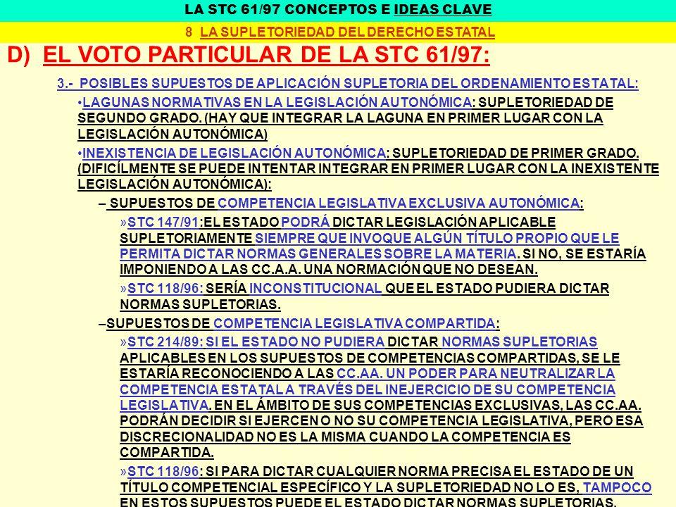 D) EL VOTO PARTICULAR DE LA STC 61/97: 3.- POSIBLES SUPUESTOS DE APLICACIÓN SUPLETORIA DEL ORDENAMIENTO ESTATAL: LAGUNAS NORMATIVAS EN LA LEGISLACIÓN