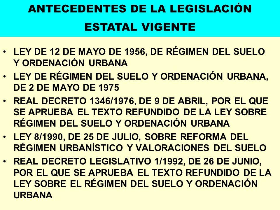 LEY DE 12 DE MAYO DE 1956, DE RÉGIMEN DEL SUELO Y ORDENACIÓN URBANA LEY DE RÉGIMEN DEL SUELO Y ORDENACIÓN URBANA, DE 2 DE MAYO DE 1975 REAL DECRETO 13