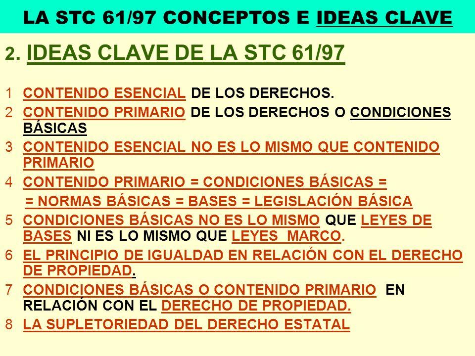 2. IDEAS CLAVE DE LA STC 61/97 1CONTENIDO ESENCIAL DE LOS DERECHOS. 2CONTENIDO PRIMARIO DE LOS DERECHOS O CONDICIONES BÁSICAS 3CONTENIDO ESENCIAL NO E
