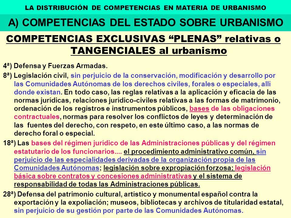 COMPETENCIAS EXCLUSIVAS PLENAS relativas o TANGENCIALES al urbanismo 4ª) Defensa y Fuerzas Armadas. 8ª) Legislación civil, sin perjuicio de la conserv