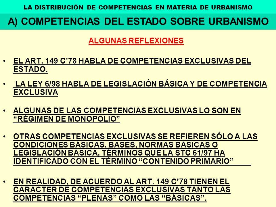 ALGUNAS REFLEXIONES EL ART. 149 C78 HABLA DE COMPETENCIAS EXCLUSIVAS DEL ESTADO. LA LEY 6/98 HABLA DE LEGISLACIÓN BÁSICA Y DE COMPETENCIA EXCLUSIVA AL