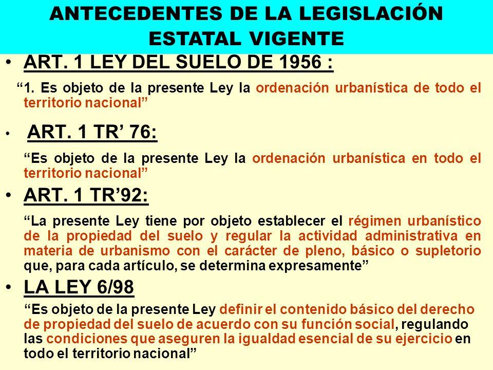 ART. 1 LEY DEL SUELO DE 1956 : 1. Es objeto de la presente Ley la ordenación urbanística de todo el territorio nacional ART. 1 TR 76: Es objeto de la