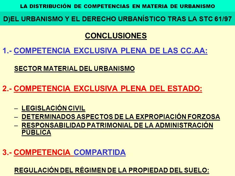 CONCLUSIONES 1.- COMPETENCIA EXCLUSIVA PLENA DE LAS CC.AA: SECTOR MATERIAL DEL URBANISMO 2.- COMPETENCIA EXCLUSIVA PLENA DEL ESTADO: –LEGISLACIÓN CIVI