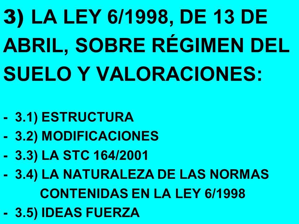 3) LA LEY 6/1998, DE 13 DE ABRIL, SOBRE RÉGIMEN DEL SUELO Y VALORACIONES: - 3.1) ESTRUCTURA - 3.2) MODIFICACIONES - 3.3) LA STC 164/2001 - 3.4) LA NAT