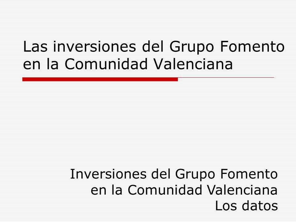 Las inversiones del Grupo Fomento en la Comunidad Valenciana Inversiones del Grupo Fomento en la Comunidad Valenciana Los datos