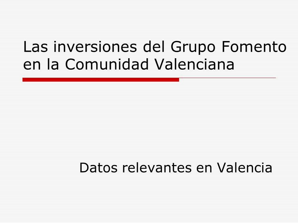Las inversiones del Grupo Fomento en la Comunidad Valenciana Datos relevantes en Valencia