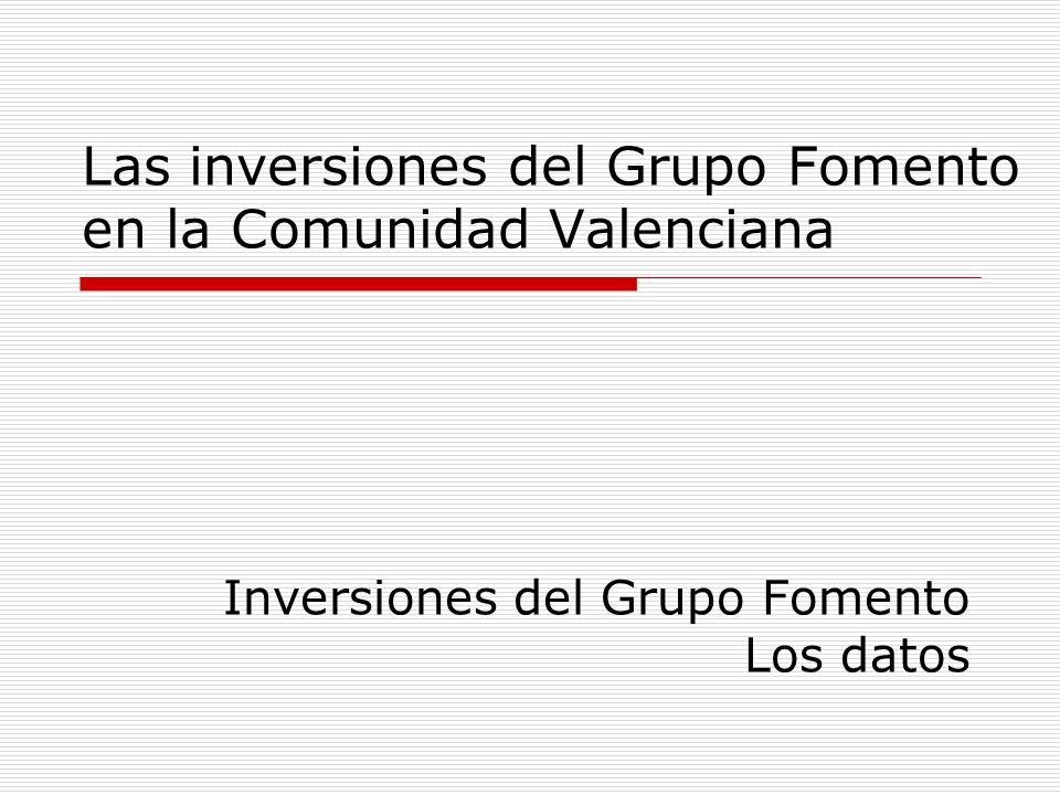 Las inversiones del Grupo Fomento en la Comunidad Valenciana Inversiones del Grupo Fomento Los datos