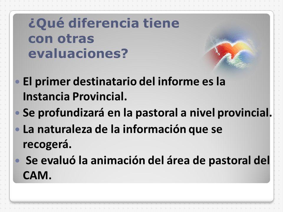 El primer destinatario del informe es la Instancia Provincial. Se profundizará en la pastoral a nivel provincial. La naturaleza de la información que