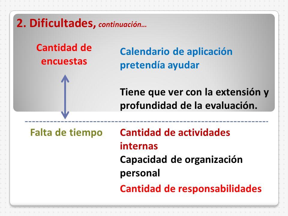 2. Dificultades, continuación… Cantidad de encuestas Calendario de aplicación pretendía ayudar Tiene que ver con la extensión y profundidad de la eval